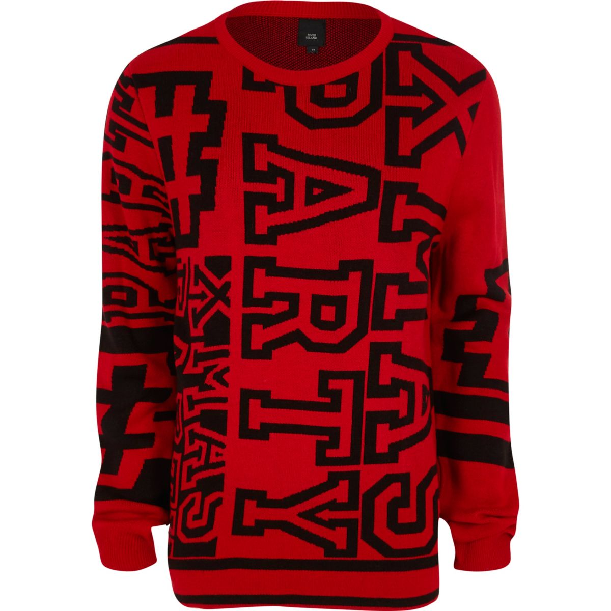 Red 'xmas party' Christmas jumper