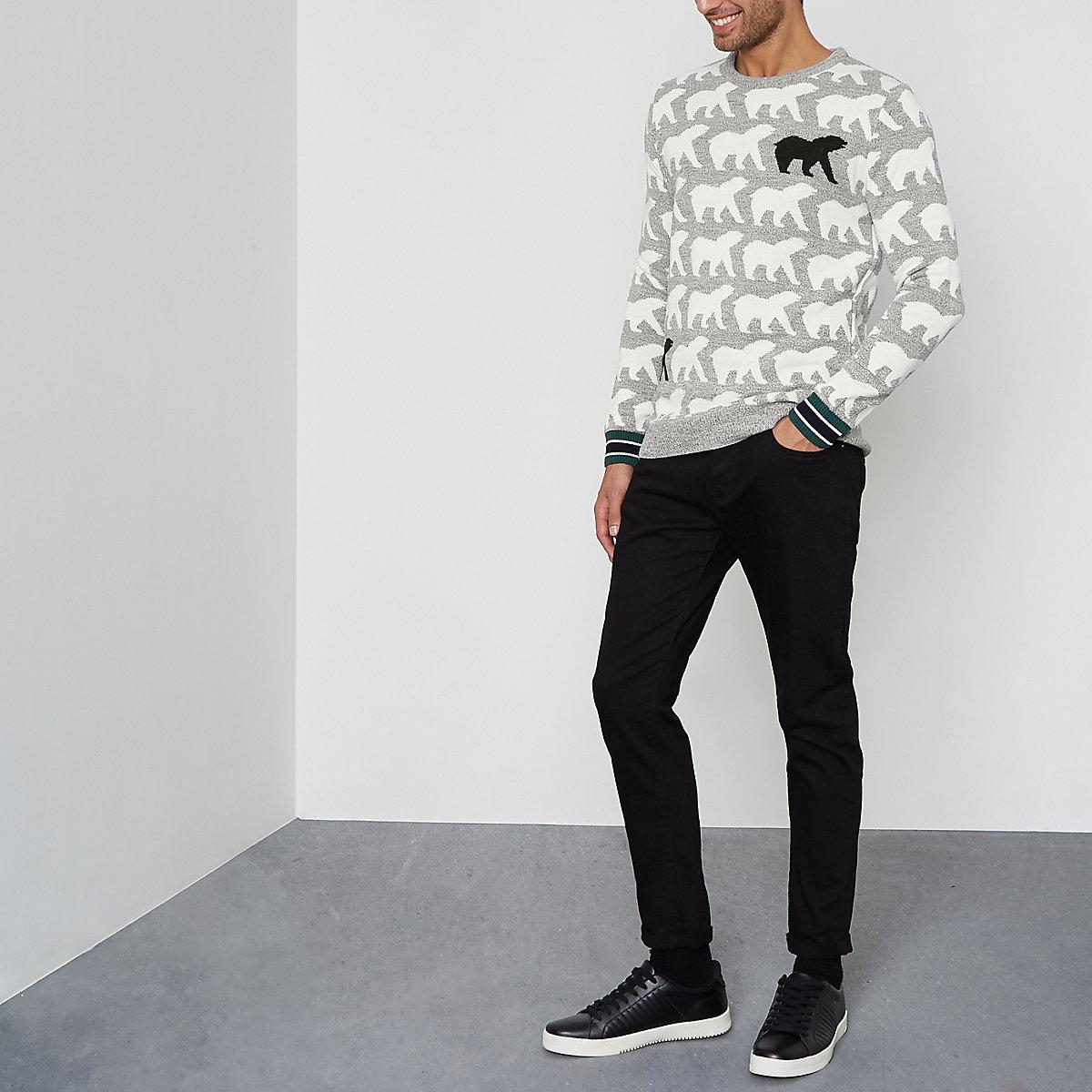 Gebreide Kersttrui.Grijze Gebreide Kersttrui Met Ijsbeer Pullovers Pullovers