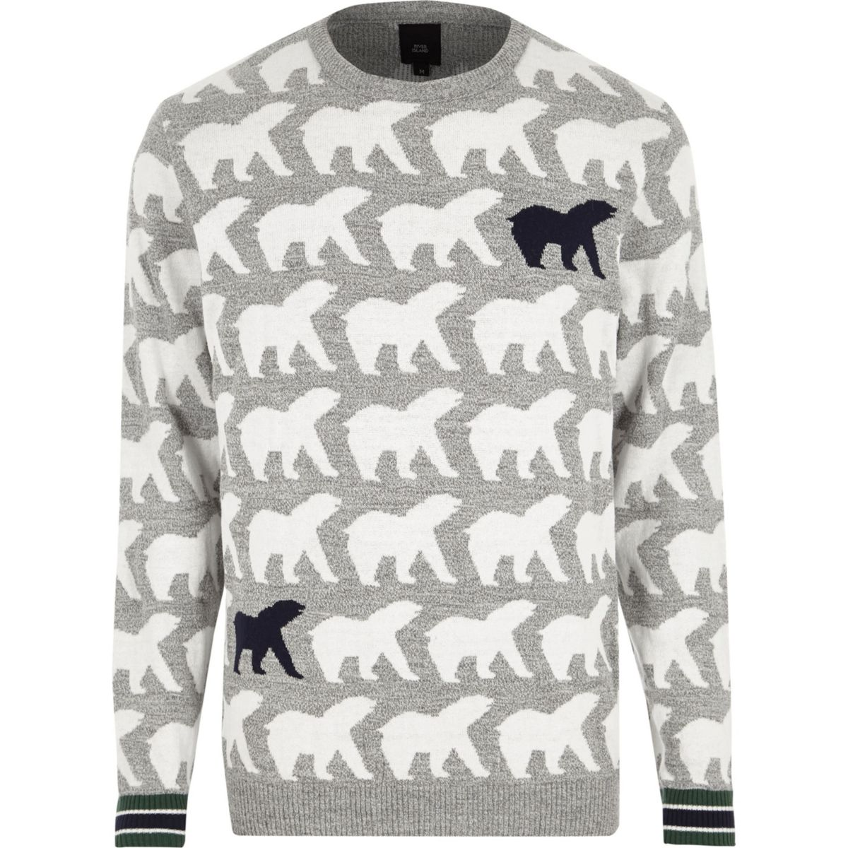 Grey polar bear knit Christmas sweater