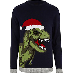 Navy T-rex knit Christmas sweater