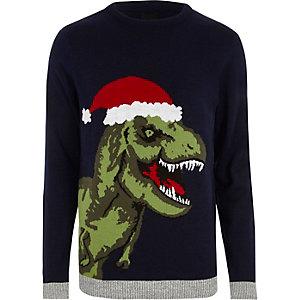 Marineblauwe gebreide kersttrui met T-Rex