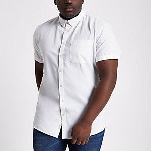 Big & Tall – Chemise Oxford blanche à manches courtes