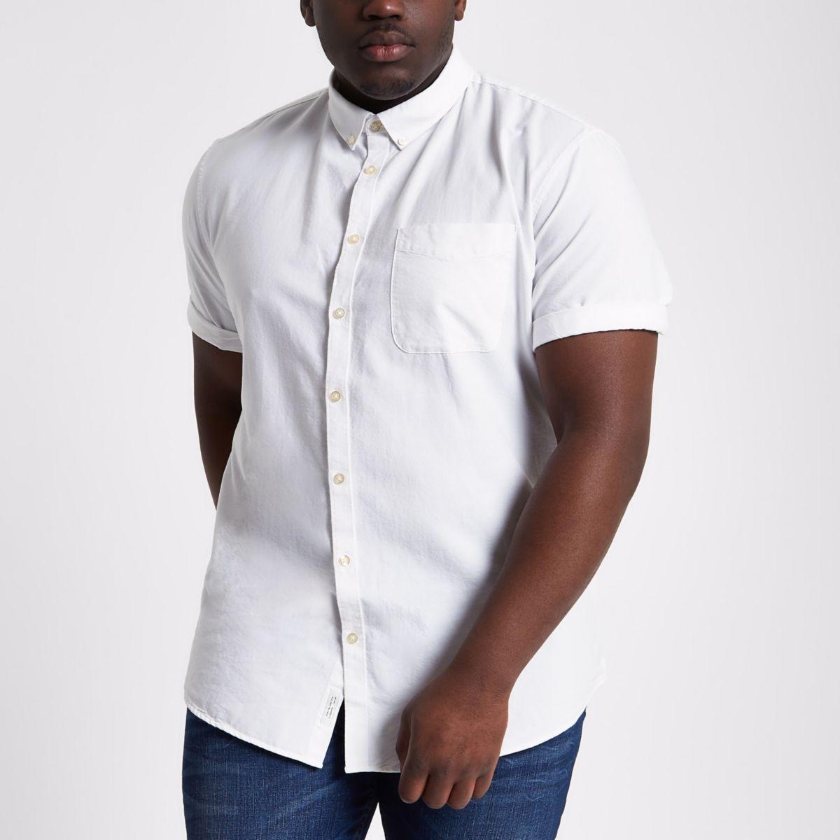 Big & Tall – Weißes, kurzärmliges Oxford-Hemd