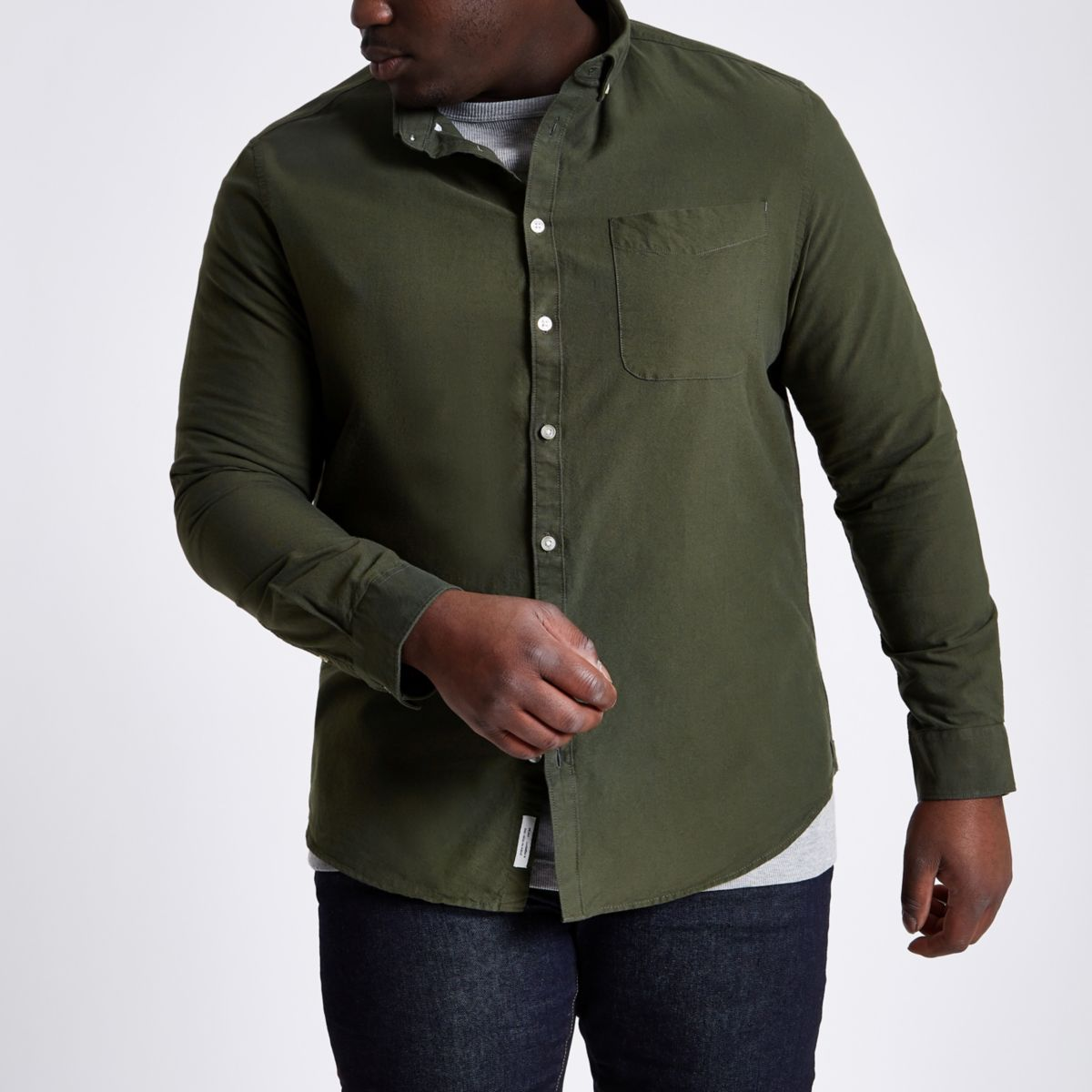 Big and Tall - Groen Oxford overhemd met knopen
