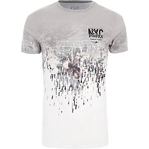 White floral extreme muscle fit T-shirt