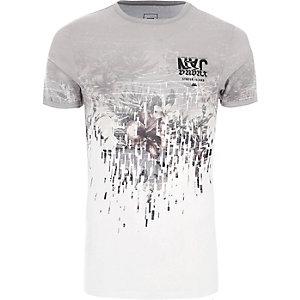 Wit extreem aansluitend T-shirt met bloemenprint