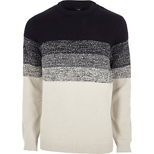 Ecru block long sleeve jumper