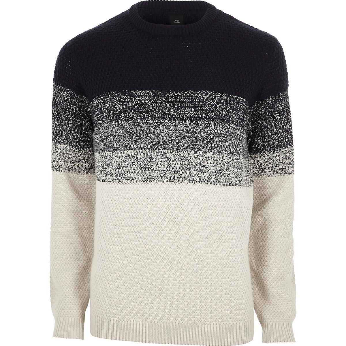 Ecru block long sleeve sweater