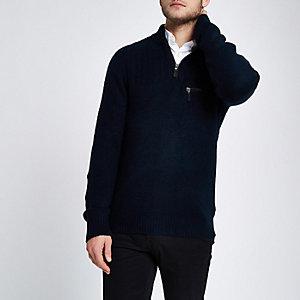 Marineblauwe pullover met halve rits en opstaande kraag