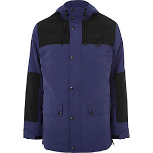 Blue block hooded jacket