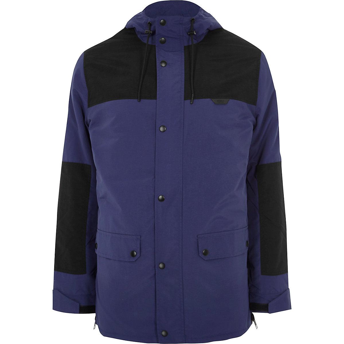 Veste à capuche colour block bleue