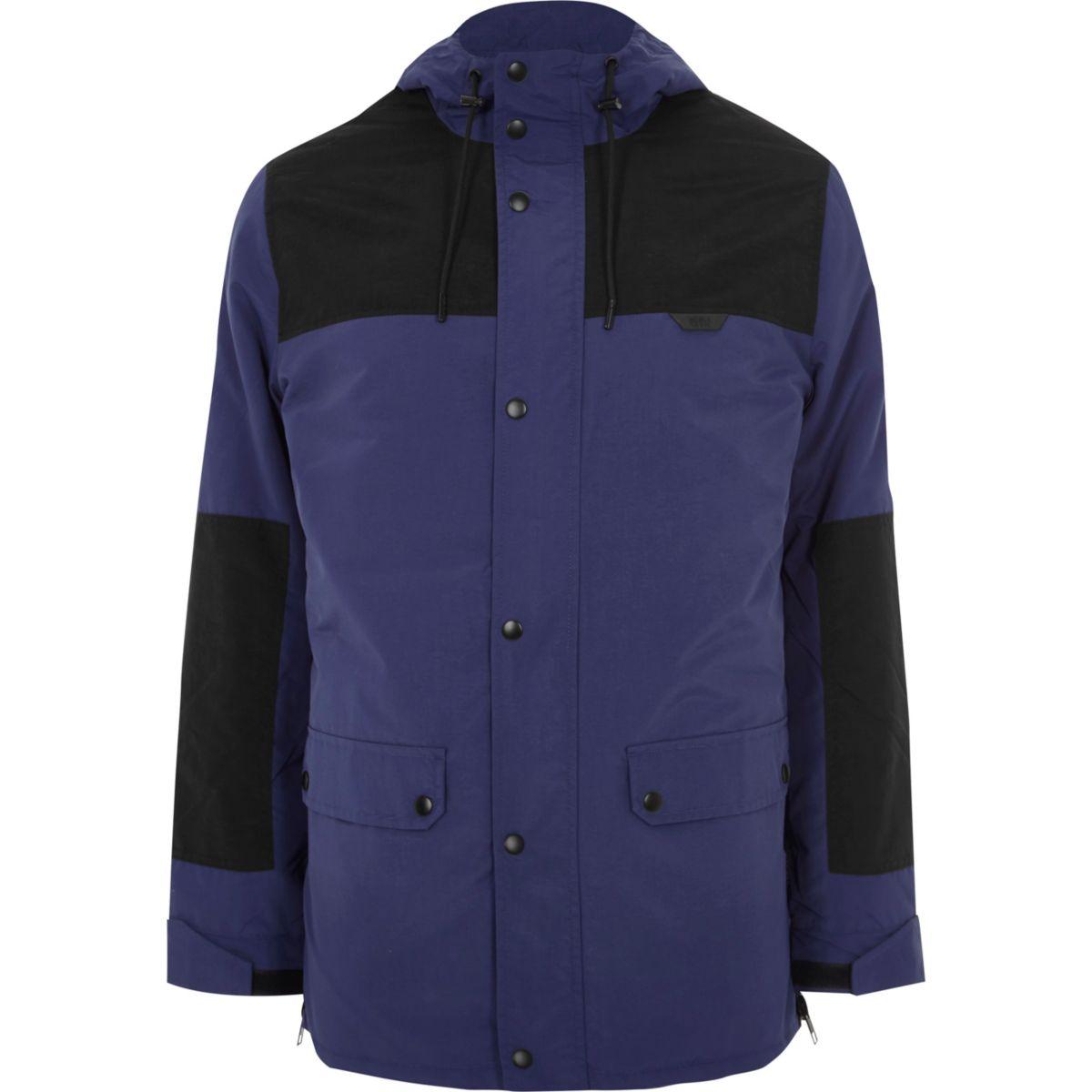 Blauwe jas met kleurvlakken en capuchon