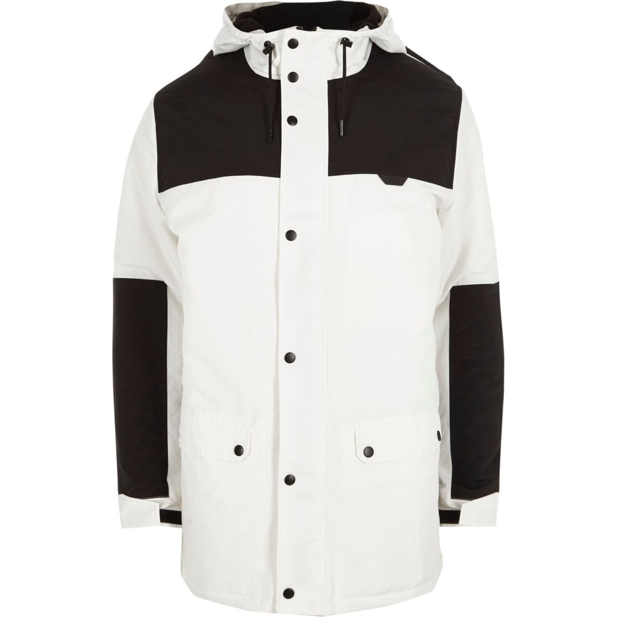 White and black color block hooded coat