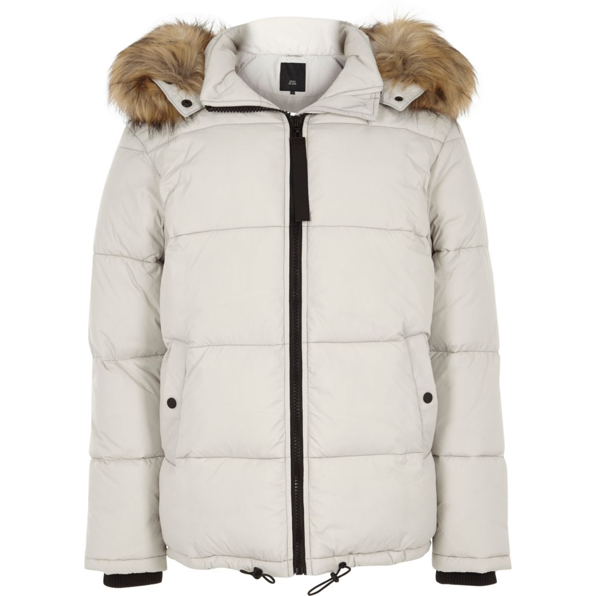 Light grey detachable fur hood puffer coat