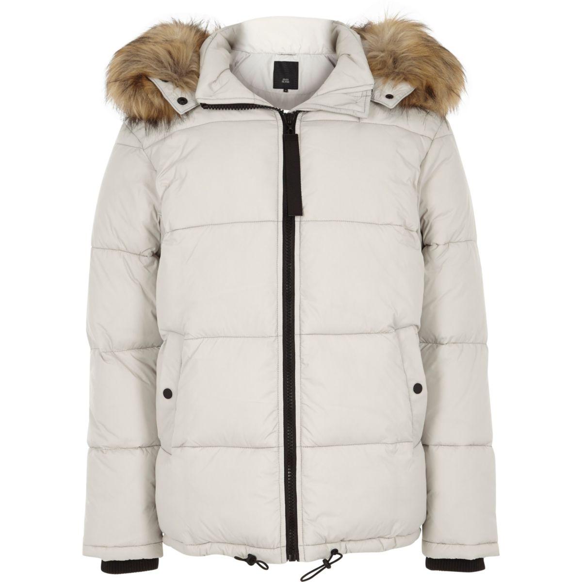 Light grey detachable fur hood puffer coat
