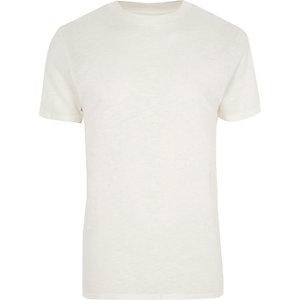 Kiezelkleurig T-shirt met korte mouwen
