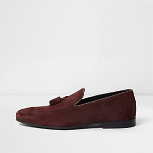 Dark red suede tassel loaders