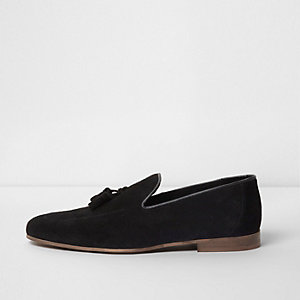 Black suede tassel loafers