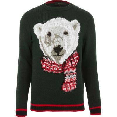 Dark Green Polar Bear Knit Christmas Jumper Jumpers