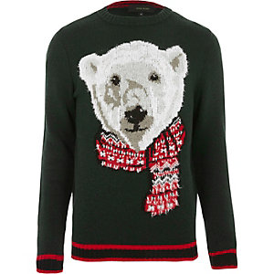 Dark green polar bear knit Christmas jumper