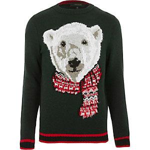 Pull de Noël motif ours blanc vert foncé