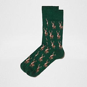 """Grüne Weihnachtssocken """"Rudolph"""""""