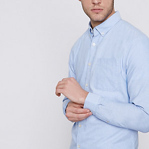Lichtblauw casual Oxford overhemd met knopen