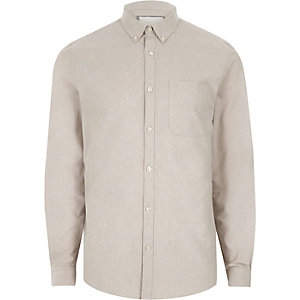 Chemise oxford casual grège boutonnée