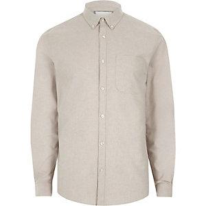 Kiezelkleurig casual Oxford overhemd met knopen