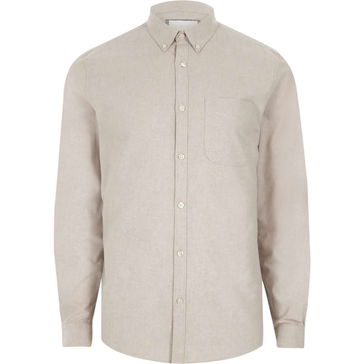 Stone button-down casual Oxford shirt
