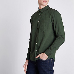Green button-down casual Oxford shirt