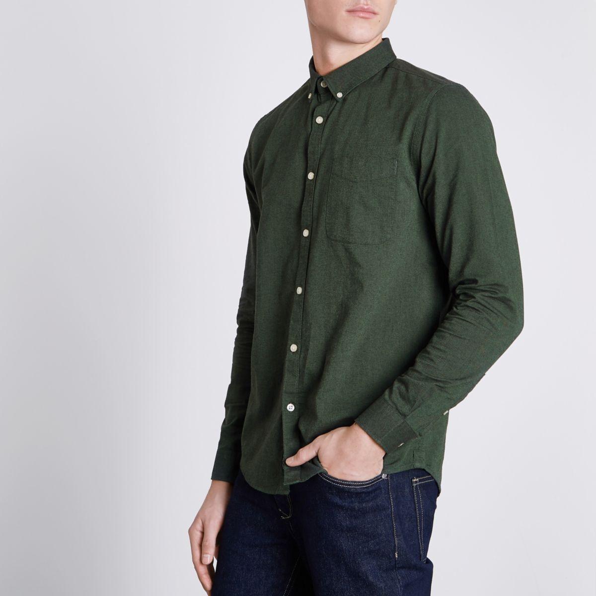 Green button-down casual Oxford shirt