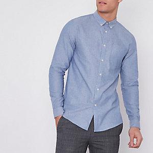 Chemise oxford casual bleue boutonnée