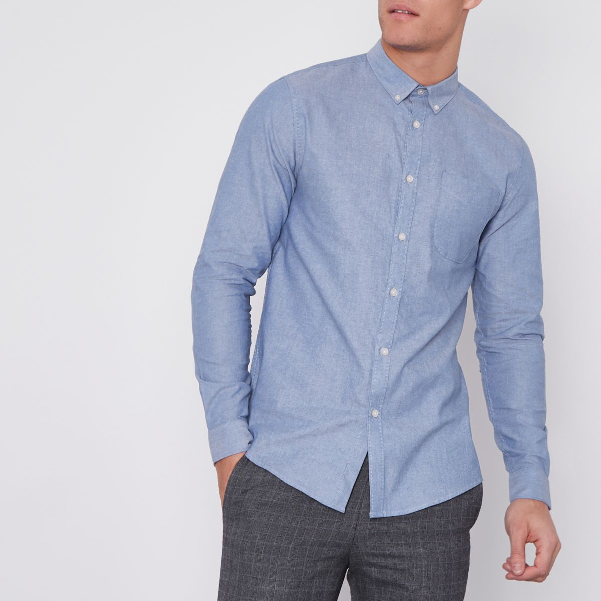 Blue button-down casual Oxford shirt