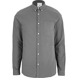 Donkergrijs casual Oxford overhemd met knopen