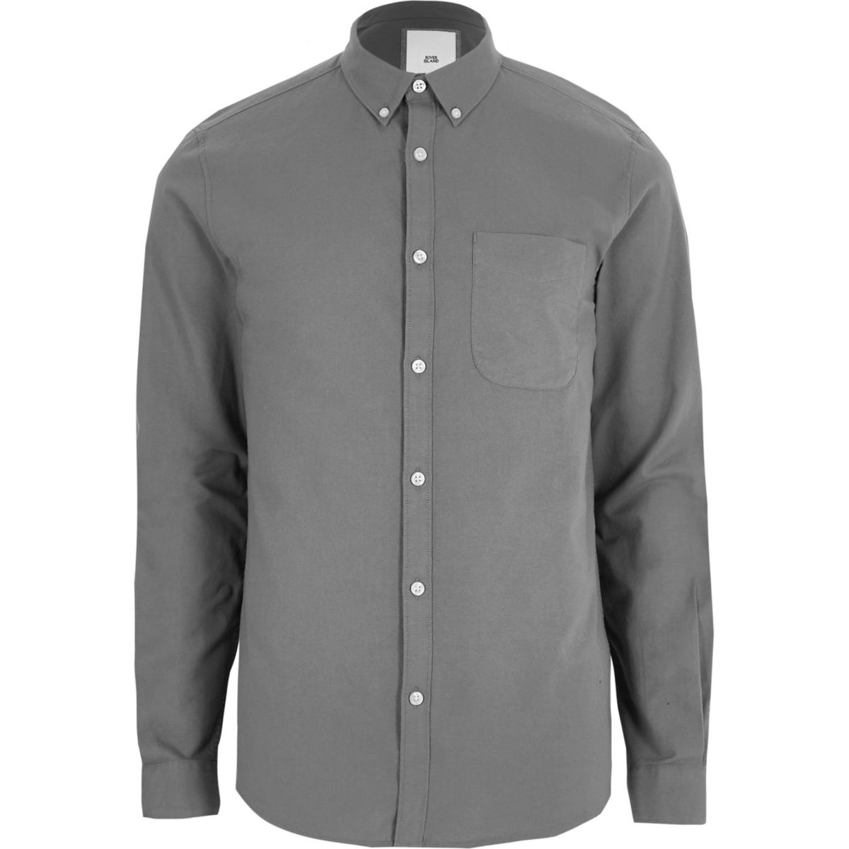 Dark grey button-down casual Oxford shirt
