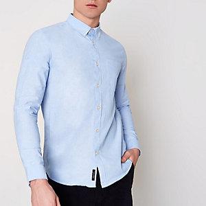 Chemise Oxford bleu clair boutonnée