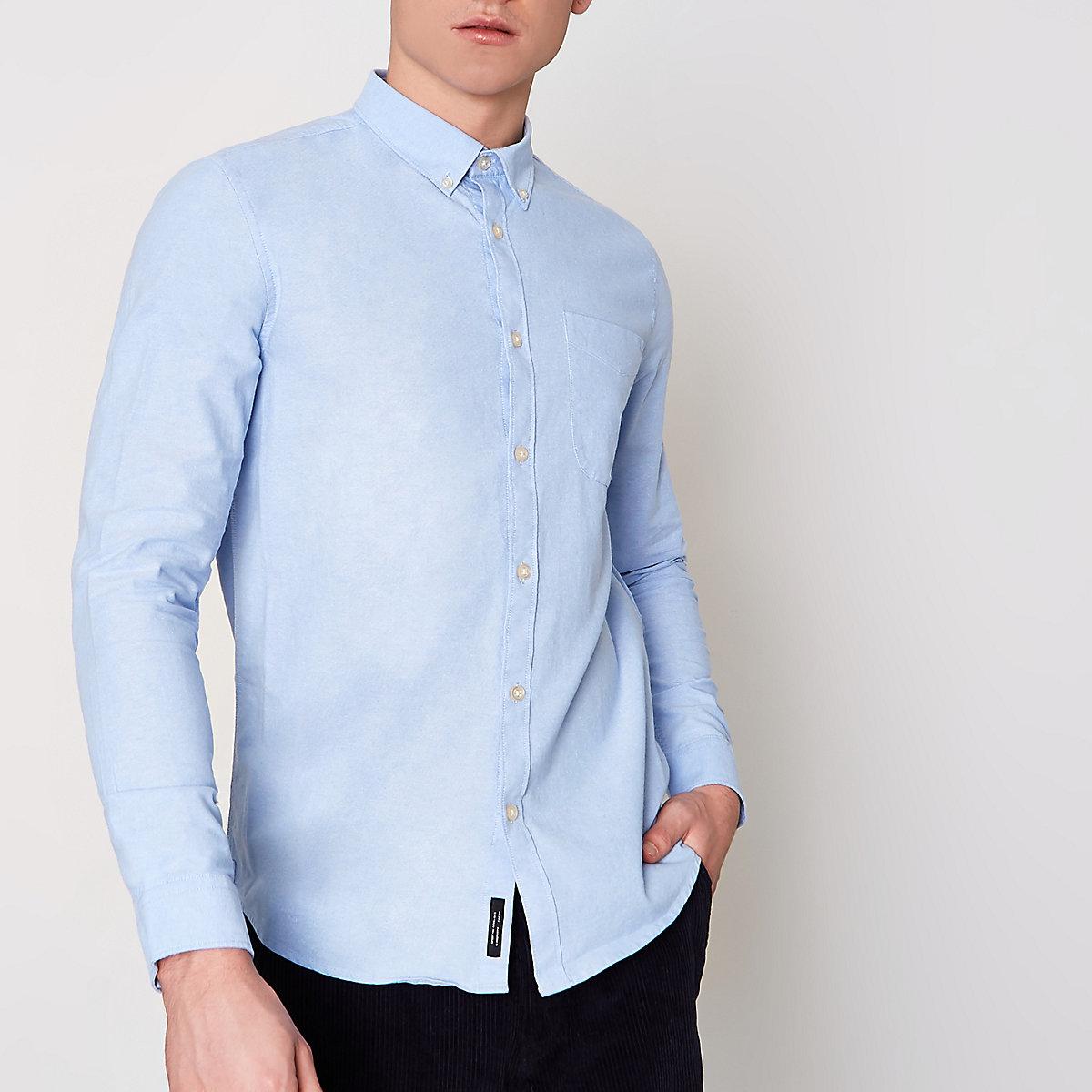 Light Blue Long Sleeve Oxford Shirt Long Sleeve Shirts Shirts Men