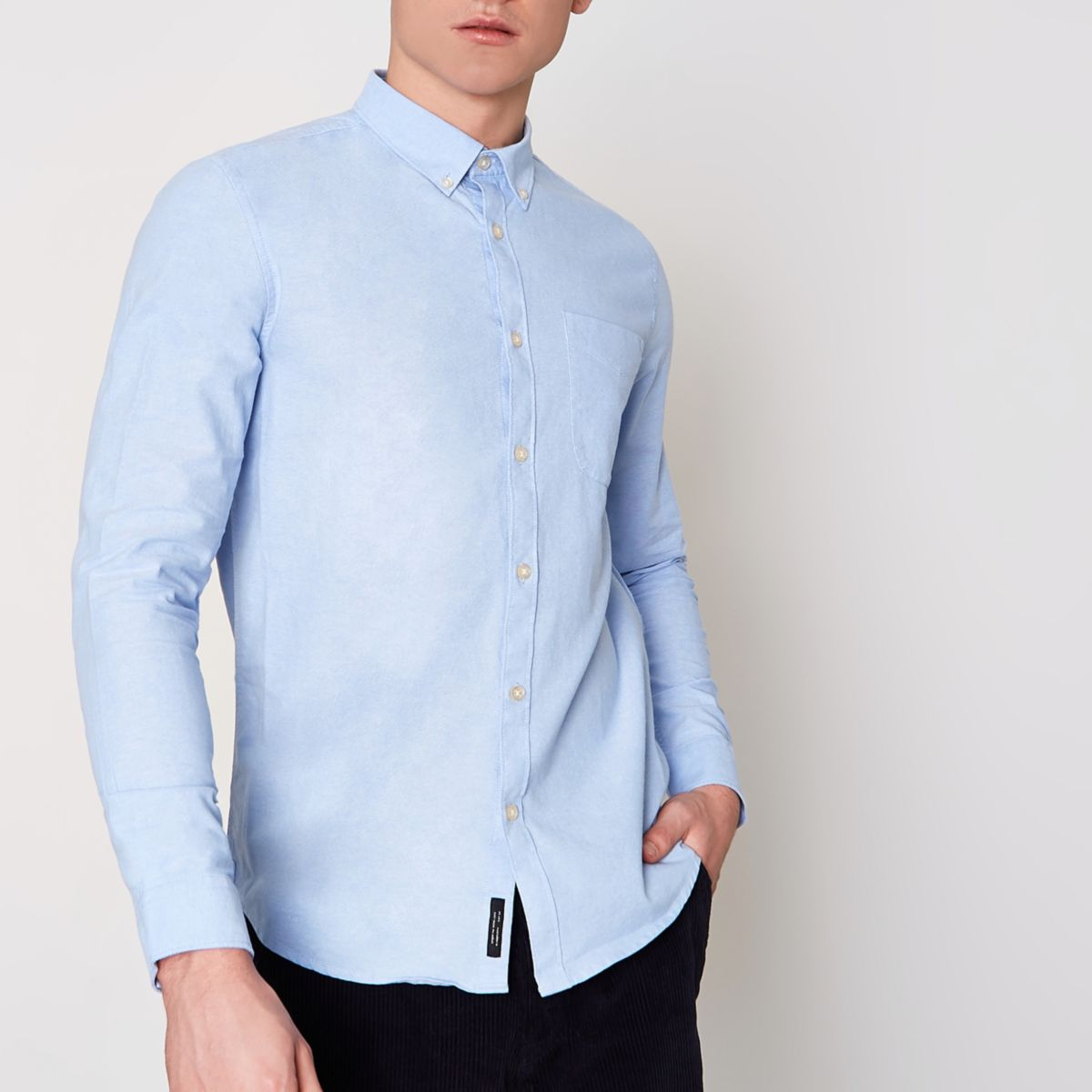 Light blue button-down Oxford shirt