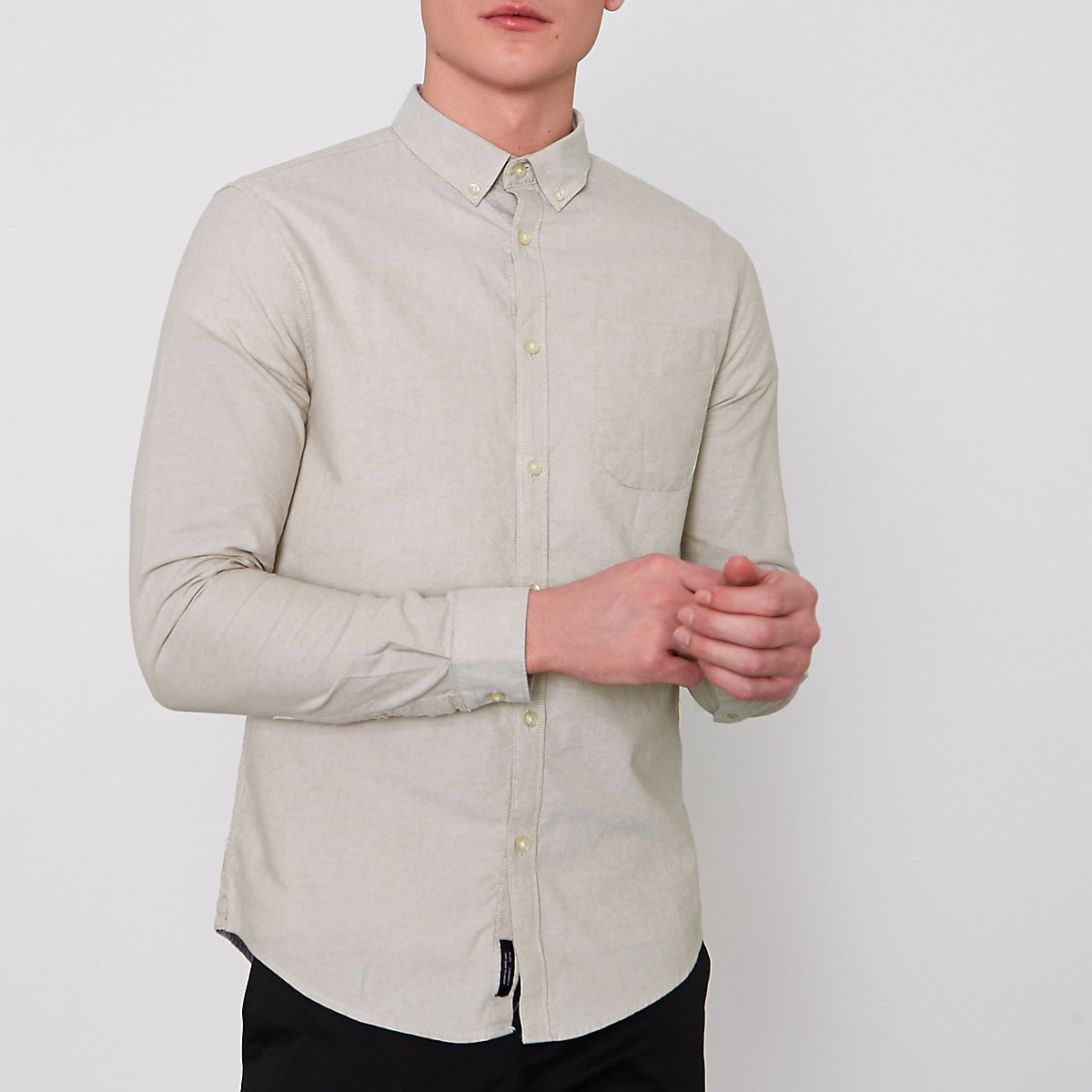 Stone button-down Oxford shirt