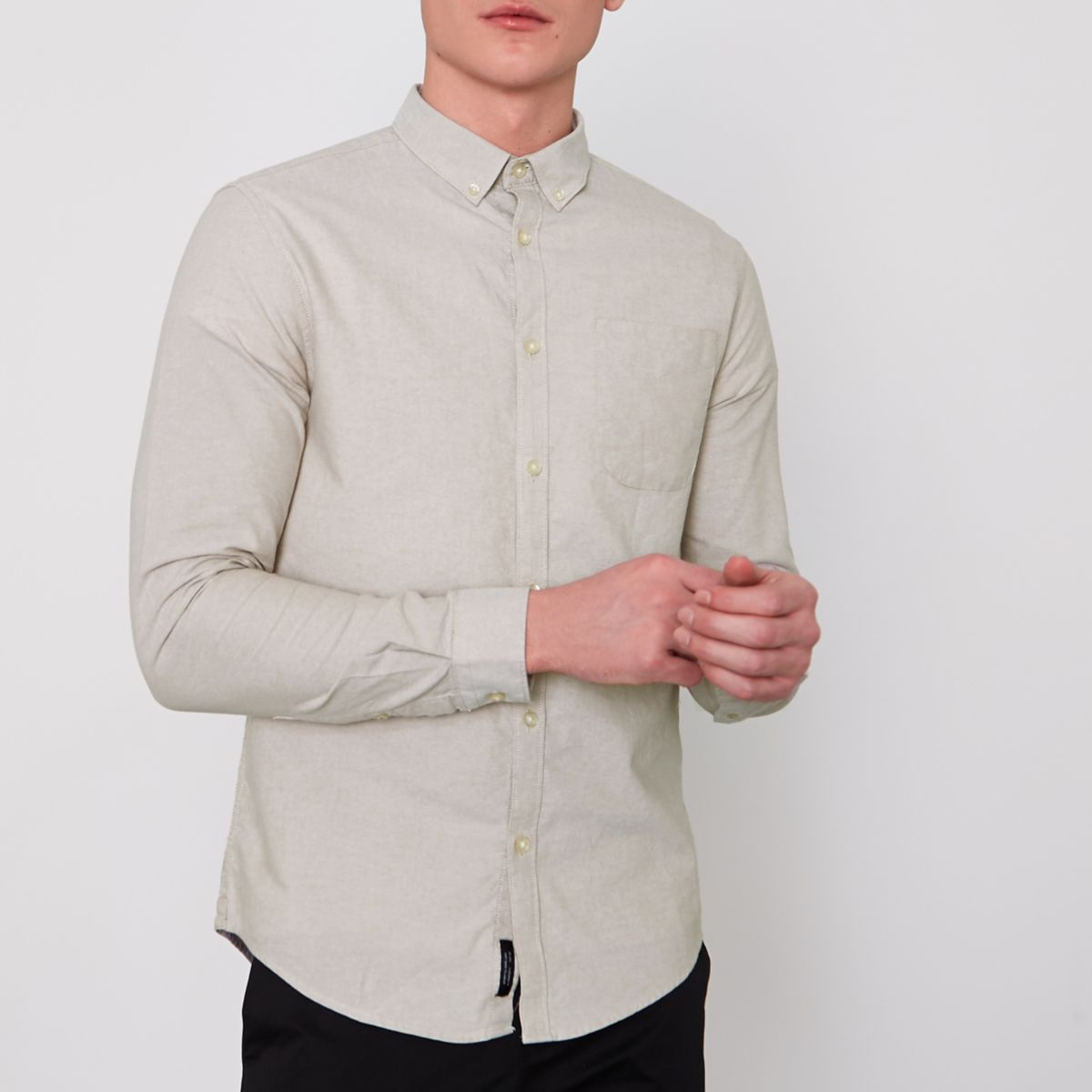 Stone button-down Oxford shirt