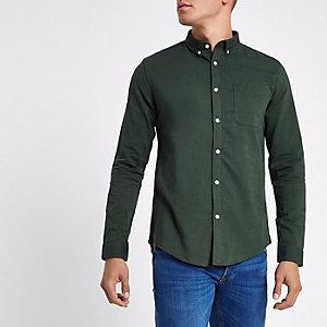 Groen button-down Oxford overhemd met lange mouwen