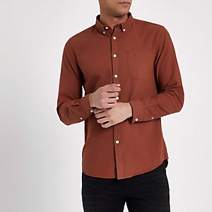 Brown long sleeve button-down shirt
