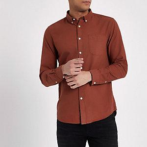 Chemise manches longues marron boutonnée