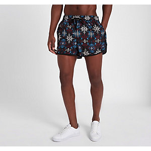 Black aztec print short swim trunks