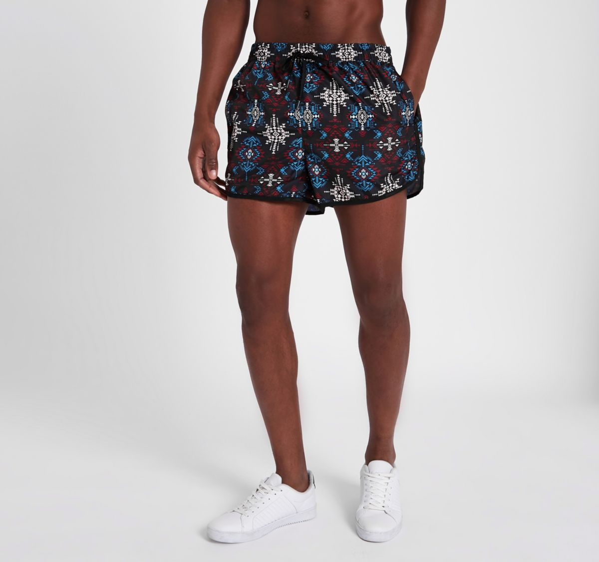 Black aztec print short swim trunks