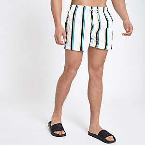White stripe print short swim trunks