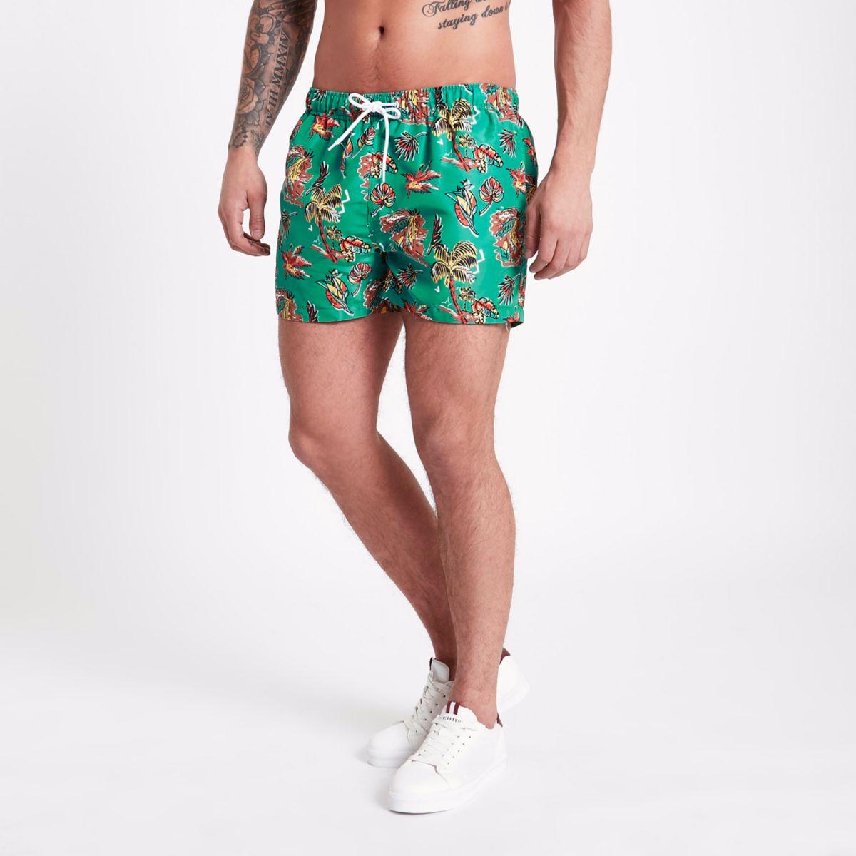 Green palm Hawaii print short swim trunks