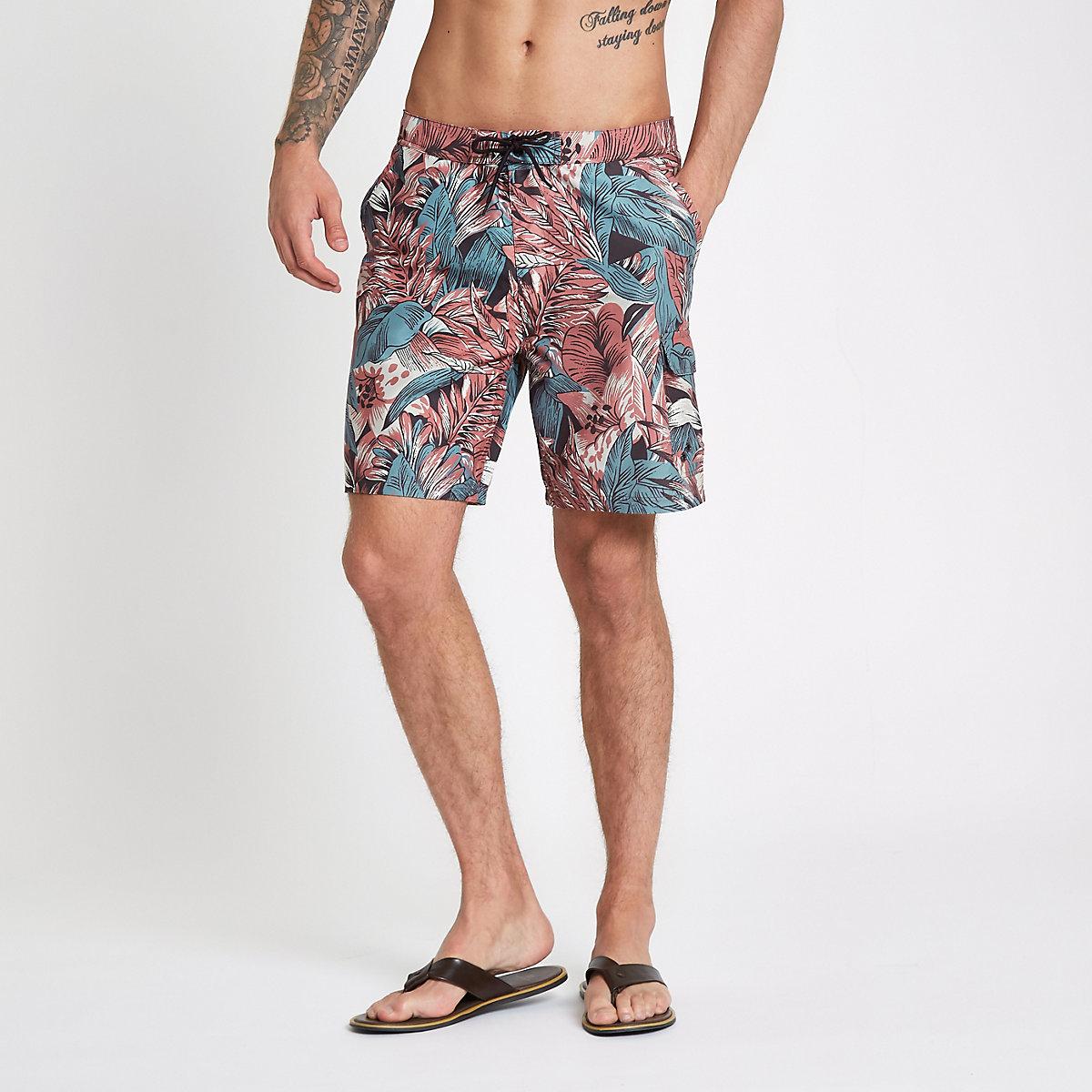 Red palm leaf floral print swim shorts