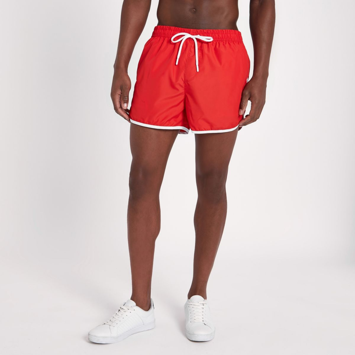 Red stripe side short swim trunks